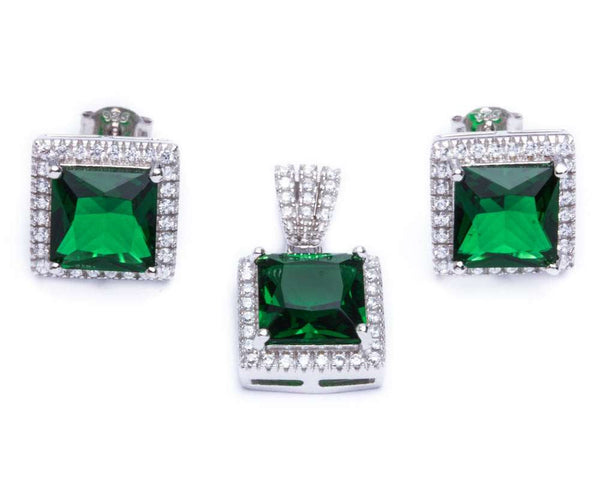 9.50ct Princess Cut Emerald & Cz .925 Sterling Silver & Pendant Jewelry set