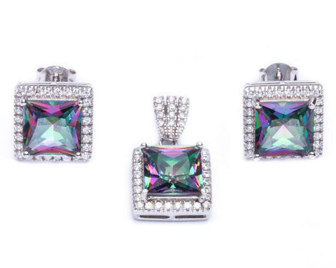 9.50ct Princess Cut Rainbow Topaz & Cz .925 Sterling Silver & Pendant Jewelry set