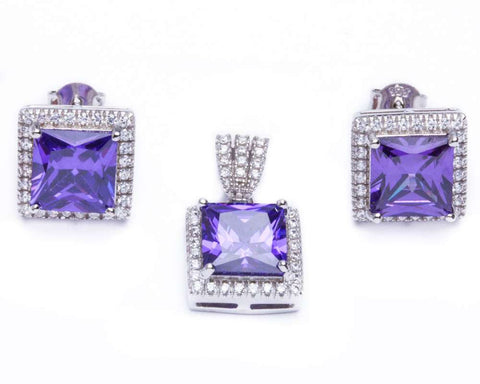 9.50ct Princess Cut Amethyst & Cz .925 Sterling Silver & Pendant Jewelry set