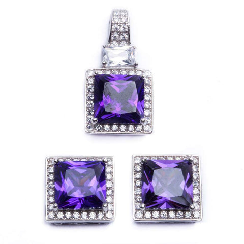 9ct Princess Cut Amethyst & Cz .925 Sterling Silver & Pendant Jewelry set