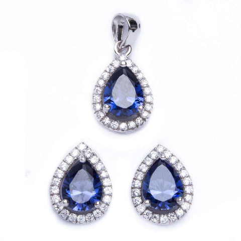 2.50ct Pear Cut Tanzanite & Cz .925 Sterling Silver & Pendant Jewelry set