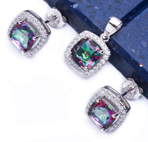 3.50ct Cushion Cut Rainbow Topaz & Cz .925 Sterling Silver & Pendant Jewelry set