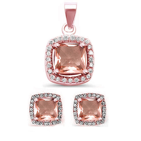 3.50ct Princess Cut Morganite & CZ  .925 Sterling Silver Earrings & Pendant Set