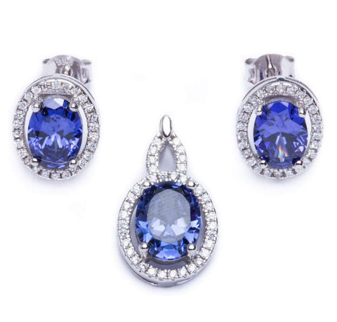 4.50ct Oval Cut Tanzanite & Cz .925 Sterling Silver & Pendant Jewelry set