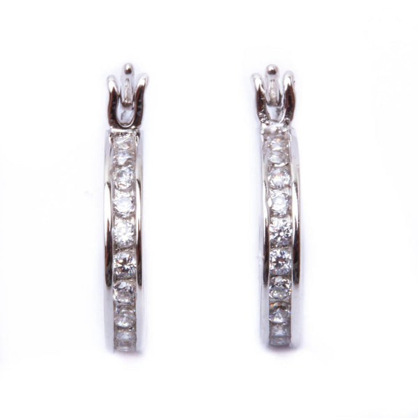 Cz 13MM Huggie Hoop .925 Sterling Silver Earring