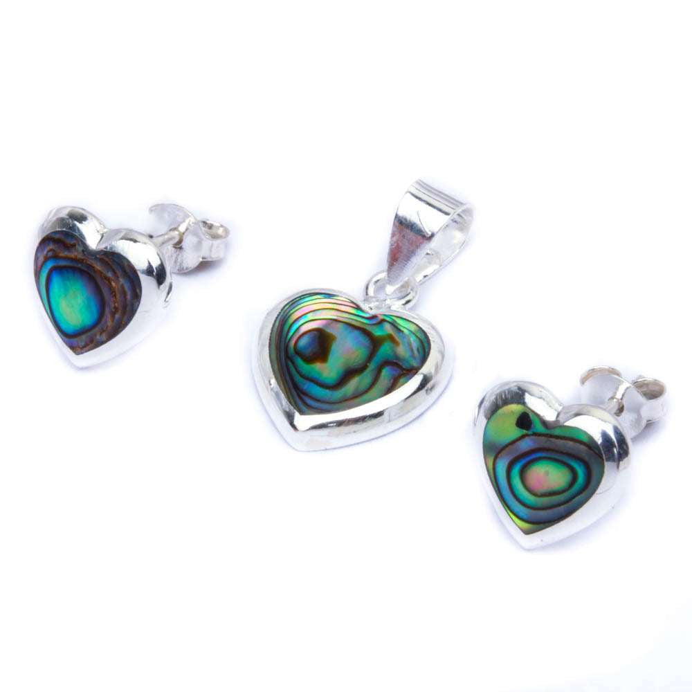 Abalone Shell Heart .925 Sterling Silver Earring & Pendant Jewelry set