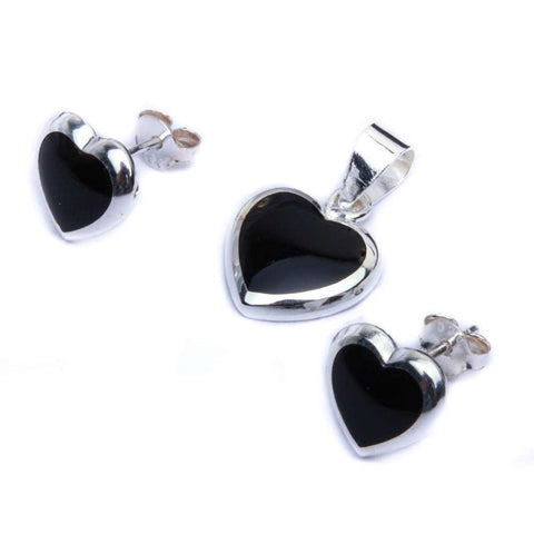 Black Onyx Heart .925 Sterling Silver Earring & Pendant Jewelry set