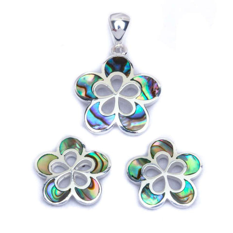 Abalone Shell Heart Flower .925 Sterling Silver Earring & Pendant Jewelry set