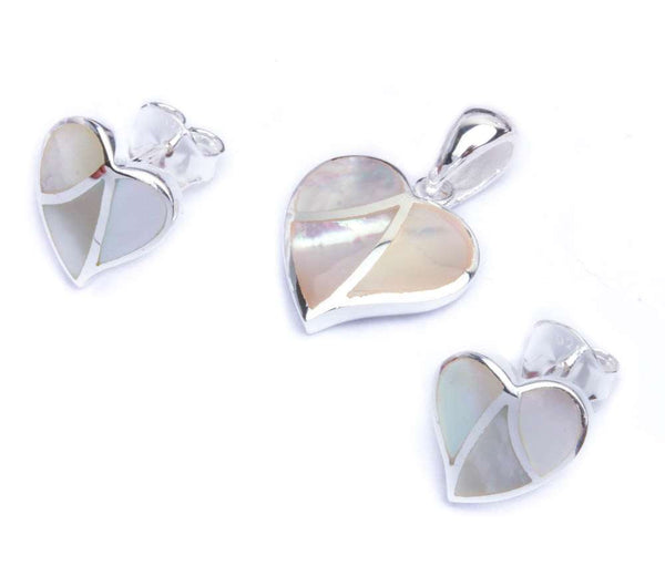 Fresh Water Pearl Fancy Heart .925 Sterling Silver Earring & Pendant Jewelry set