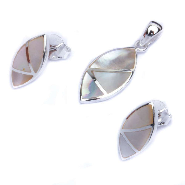 Marquis Shape Fresh Water Pearl .925 Sterling Silver Earring & Pendant Jewelry set