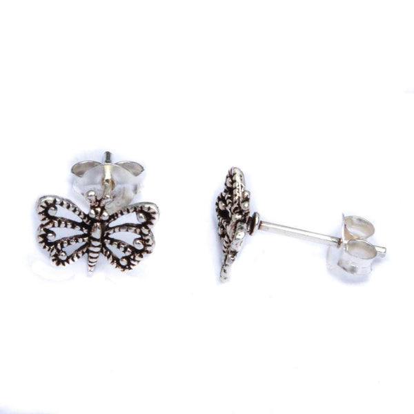Filigree Style Butterfly .925 Sterling Silver Earrings