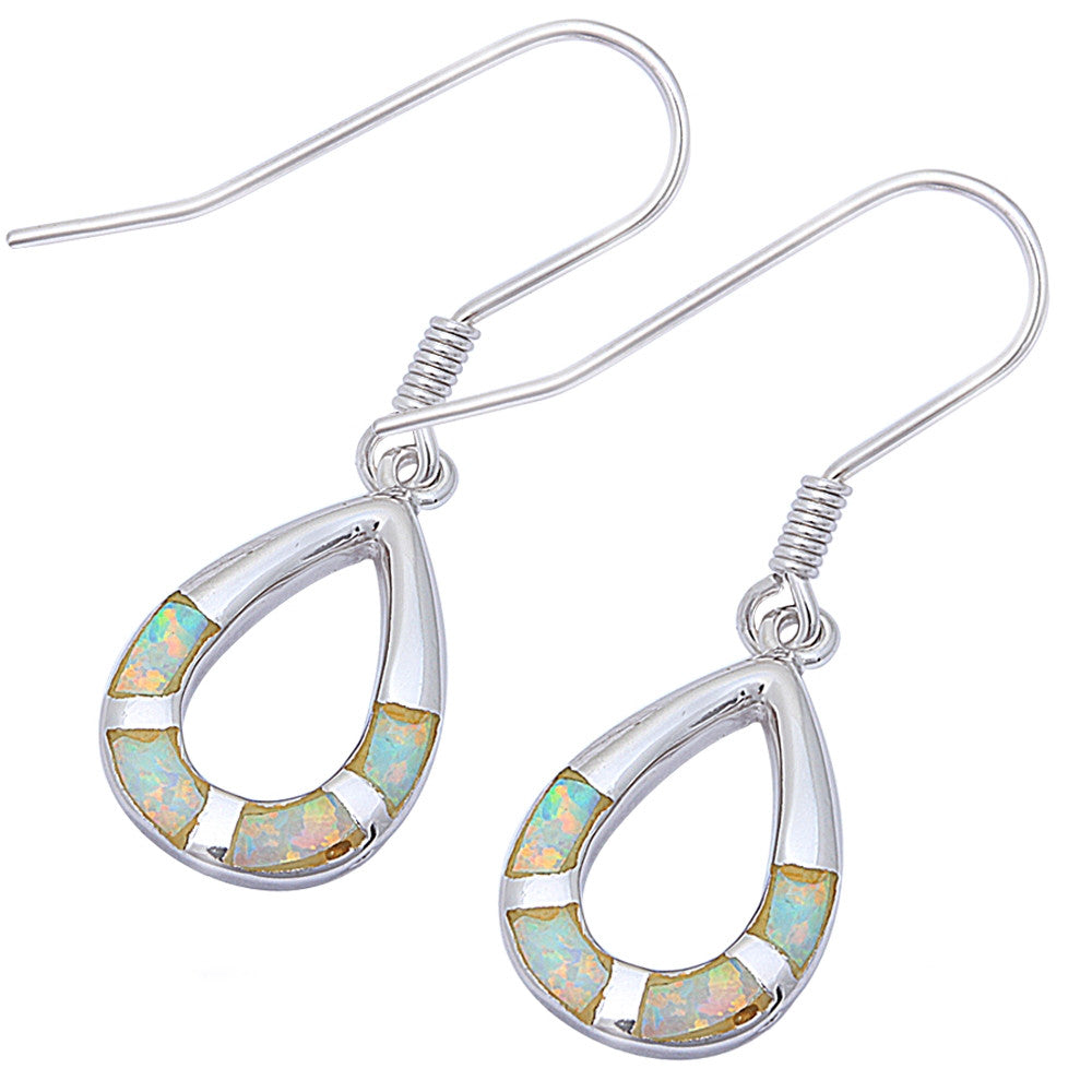 Tear Drop White Opal Dangle Style .925 Sterling Silver Earrings