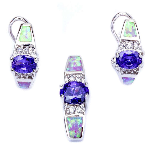 Pink Opal. Amethyst, & Cz .925 Sterling Silver Pendant & Earrings Set