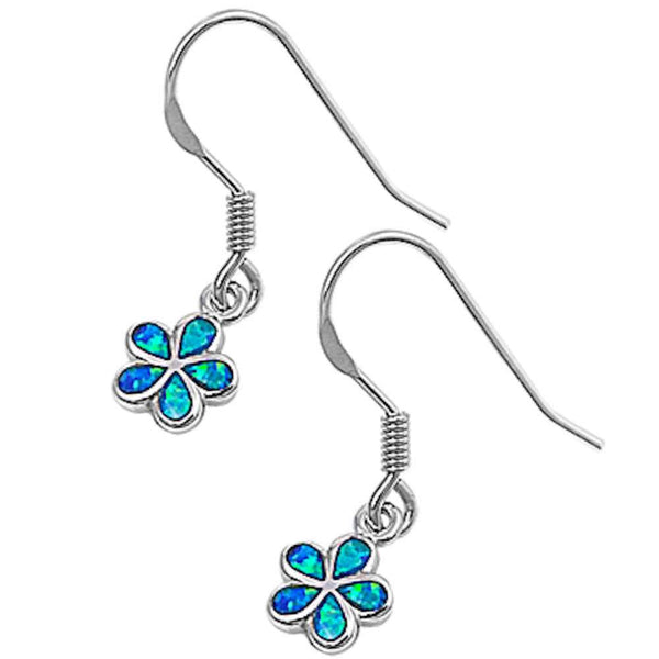 Blue Opal Plumeria .925 Sterling Silver Earrings