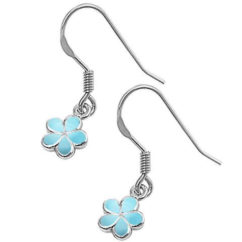 Natural Larimar Plumeria .925 Sterling Silver Earrings
