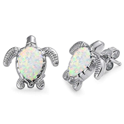 White Opal Turtle .925 Sterling Silver Earrings