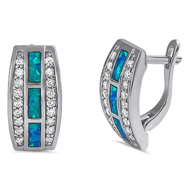 Blue Opal & Cz New fashion .925 Sterling Silver Earrings