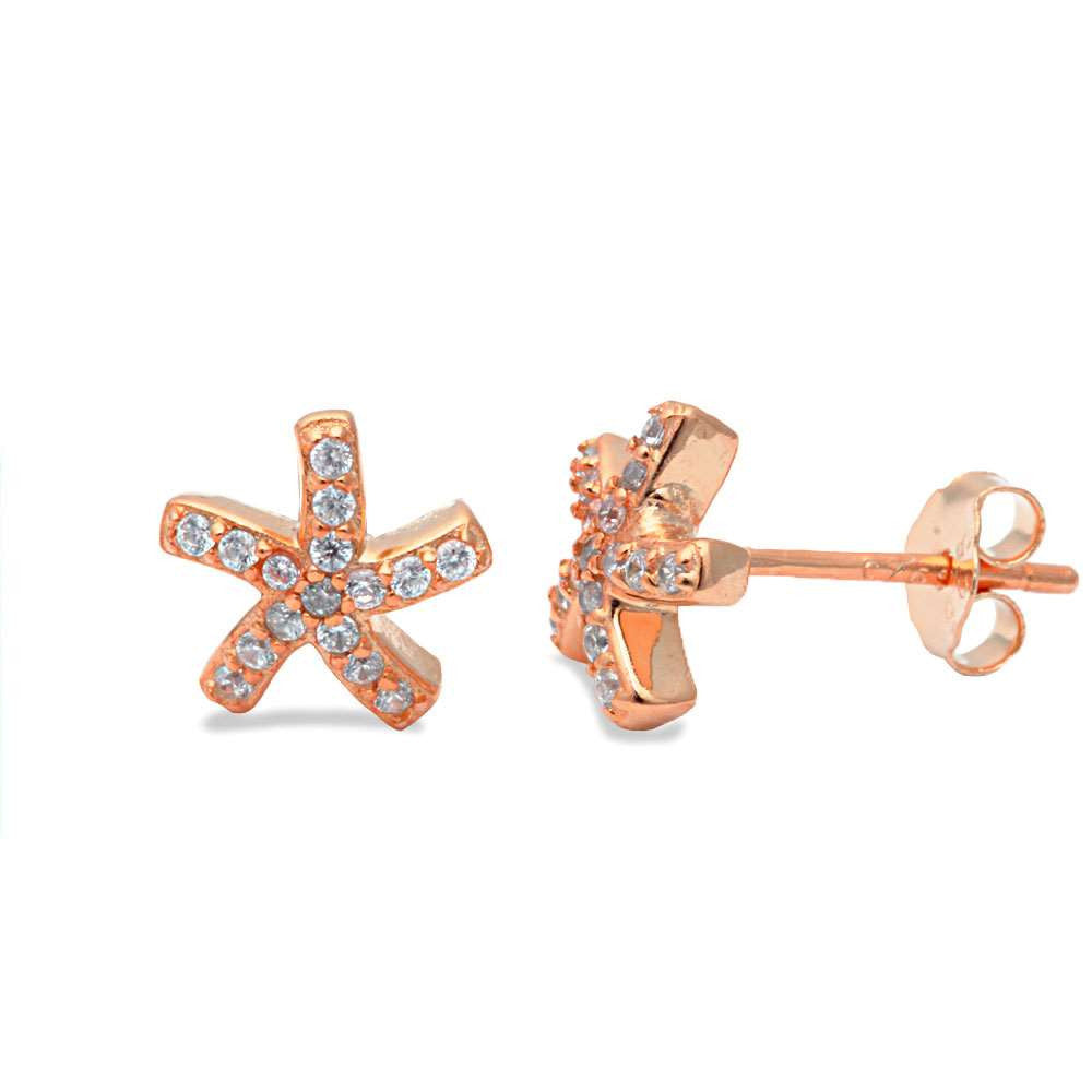 Rose Gold Plated Cz Starfish .925 Sterling Silver Earrings