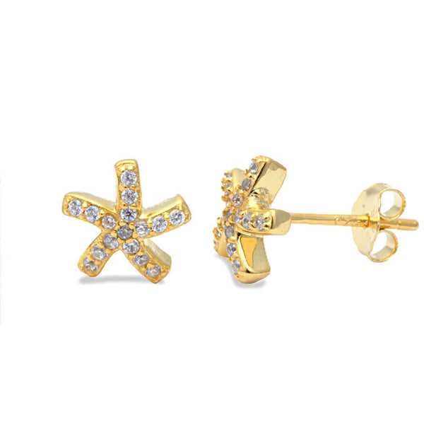 Yellow Gold Plated Cz Starfish .925 Sterling Silver Earrings