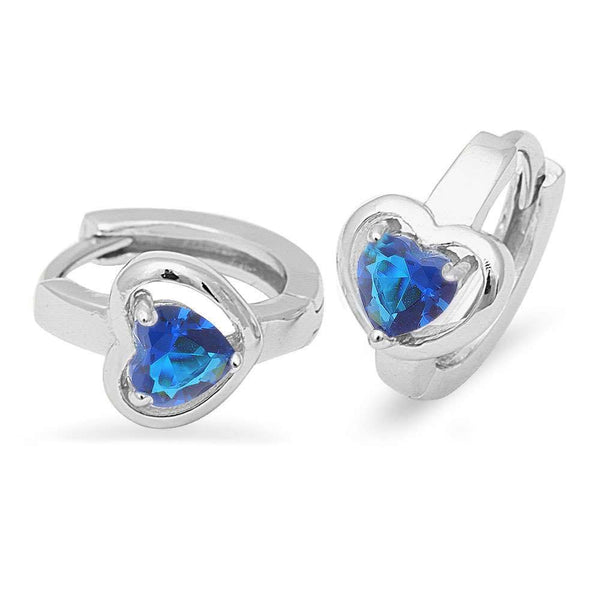 Blue Sapphire Hoop .925 Sterling Silver Earrings