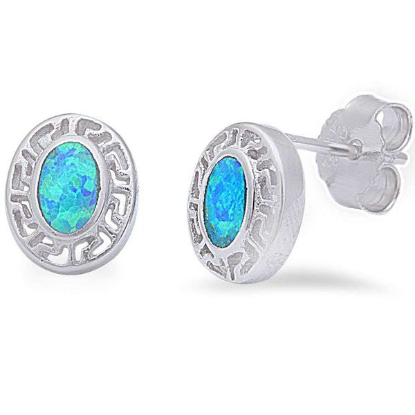 Blue Opal Stud .925 Sterling Silver Earrings