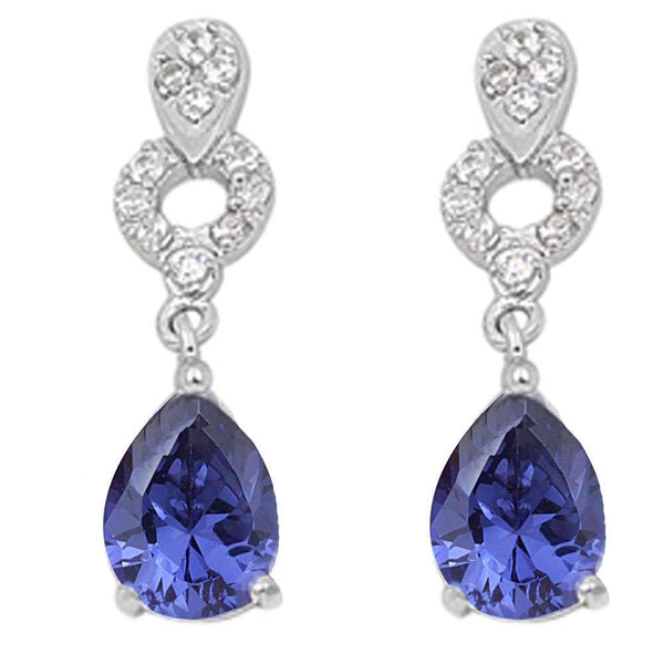 Tanzanite Pear Shape & Cz Dangle   .925 Sterling Silver Earrings