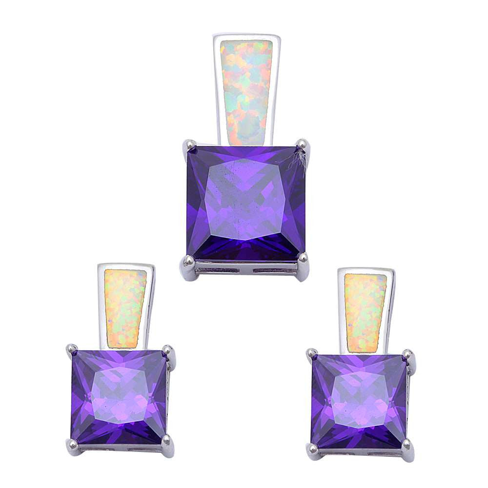 Princess Cut Amethyst & White Fire Opal .925 Sterling Silver Earring & Pendant Set