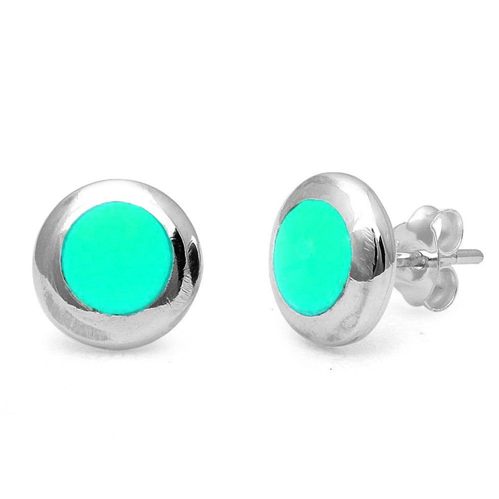 <span>CLOSEOUT!</span>Round Turquiose .925 Sterling Silver Earring