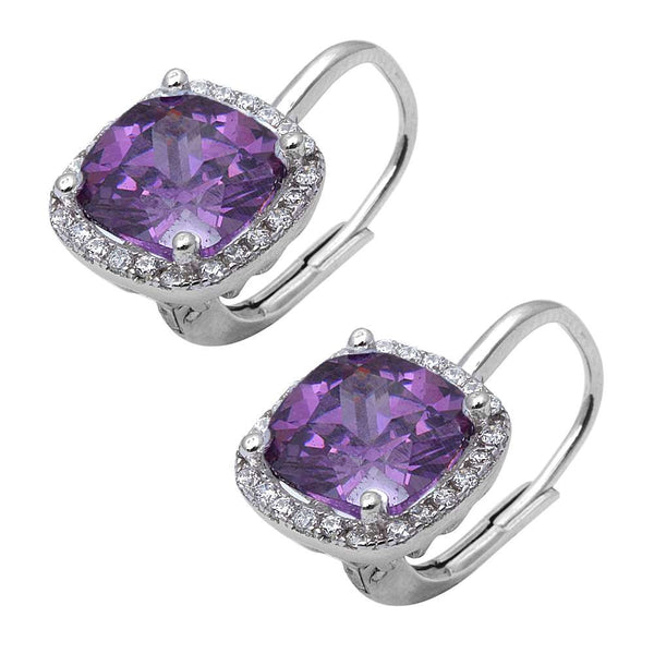Cushion Cut Amethyst and Cubic Zirconia .925 Sterling Silver Earring