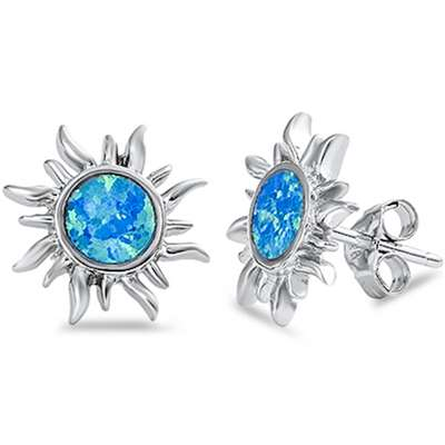Blue Opal Sun .925 Sterling Silver Earrings