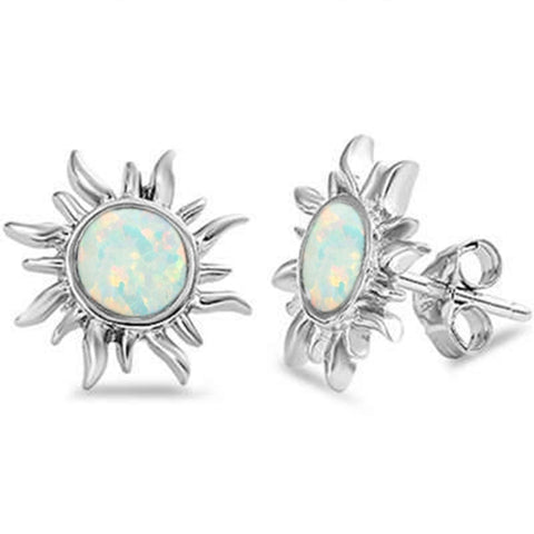 White Opal Sun .925 Sterling Silver Earrings