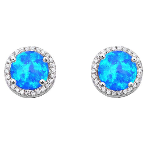 Halo Blue Opal & Cubic Zirconia .925 Sterling Silver Earrings