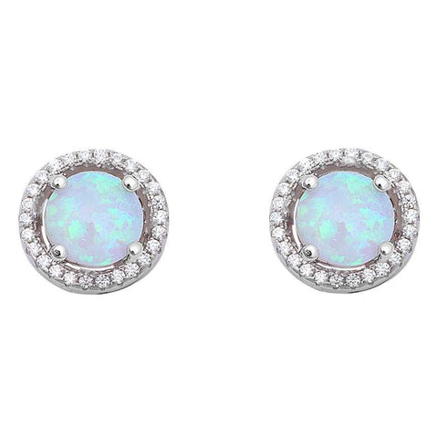 Halo White Opal & Cubic Zirconia .925 Sterling Silver Earrings
