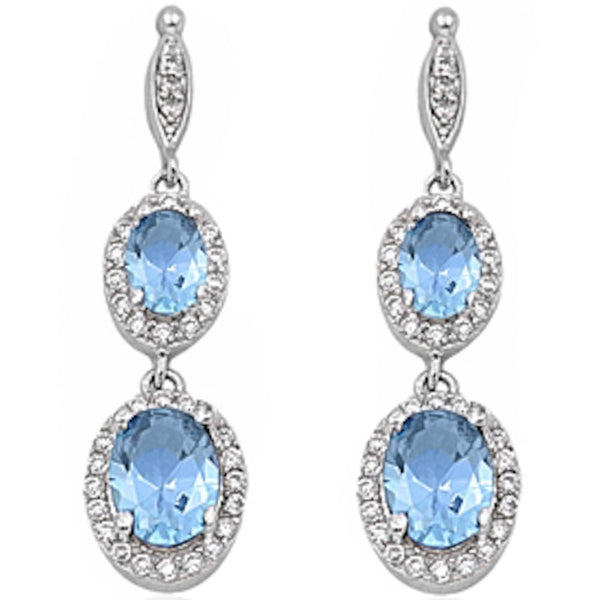 Dangle Aquamarine & Cz .925 Sterling Silver Earring