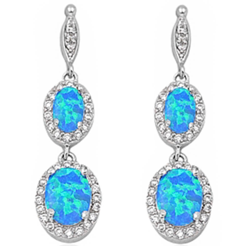 Dangle Blue Opal & Cz .925 Sterling Silver Earring