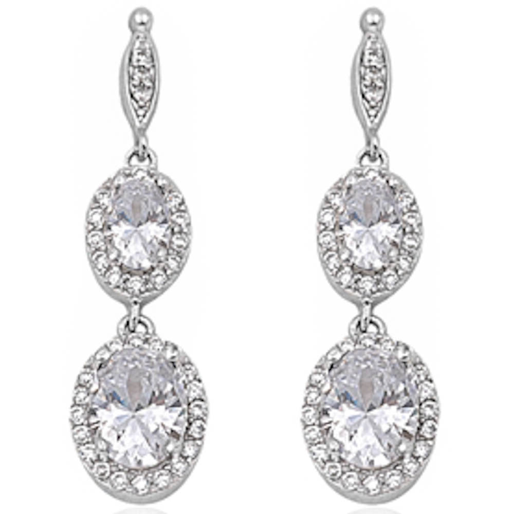 Dangle Style White Cz .925 Sterling Silver Earring