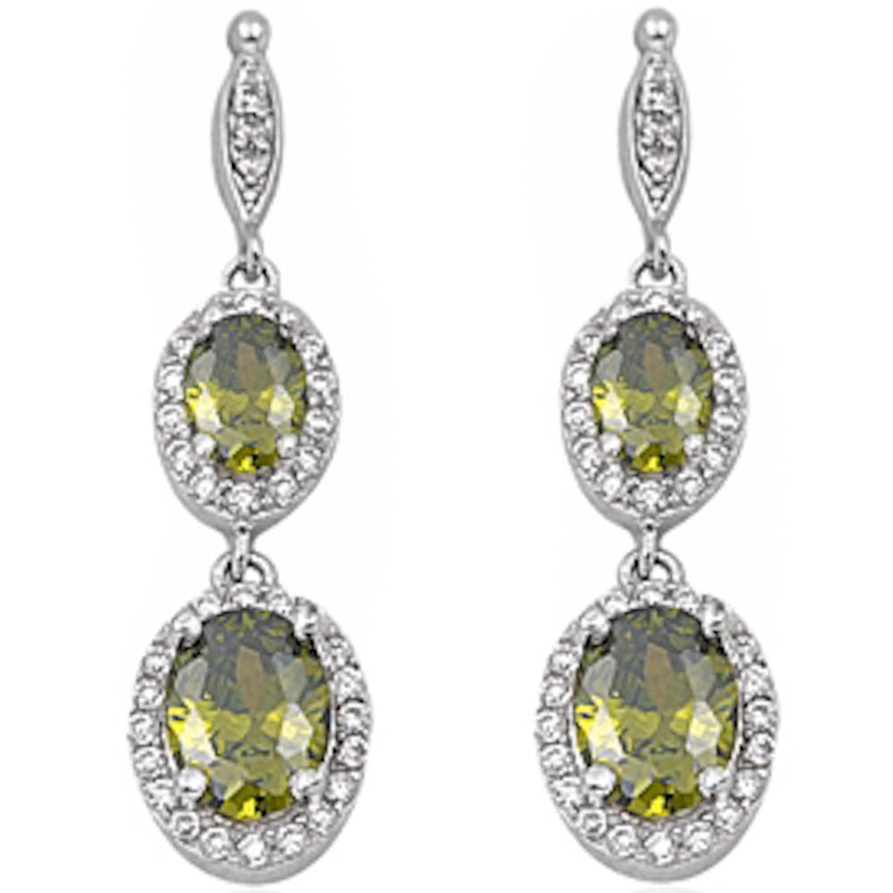 Dangle Peridot & Cz .925 Sterling Silver Earring