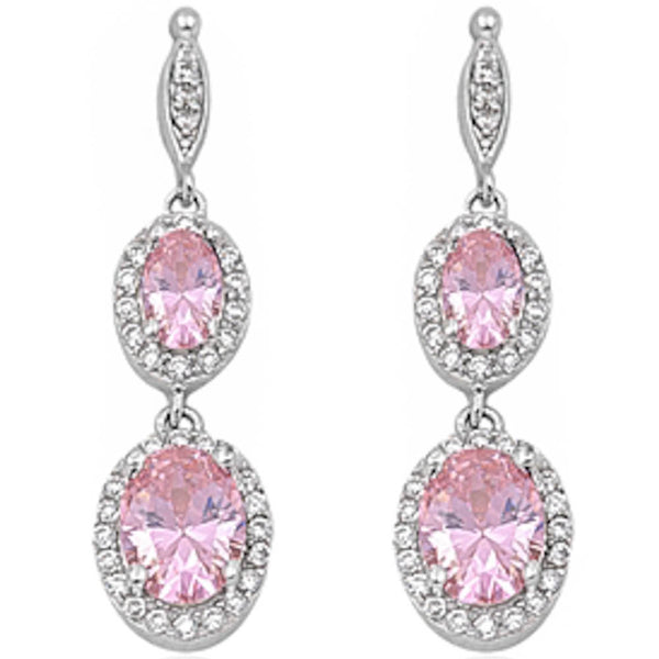 Dangle Pink Topaz & Cz .925 Sterling Silver Earring