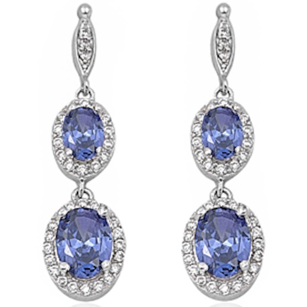 Tanzanite & Cz Dangle .925 Sterling Silver Earring