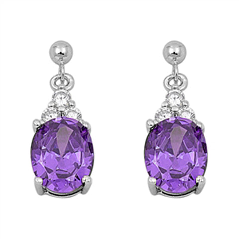 Dangling Oval Amethyst & Cz .925 Sterling Silver Earrings