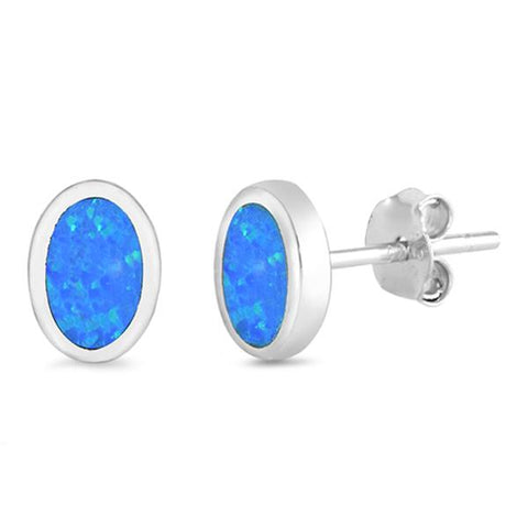 Blue Opal Oval Shape .925 Sterling Silver Earrings