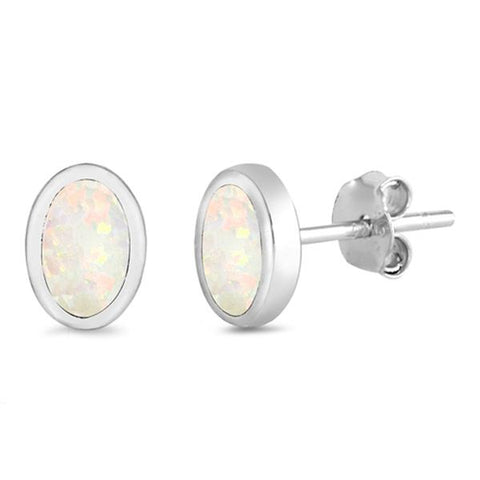 White Opal Oval Shape .925 Sterling Silver Earrings