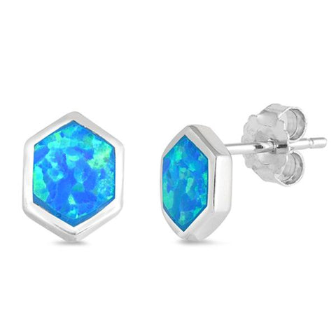 Blue Opal Hexagon .925 Sterling Silver Earrings