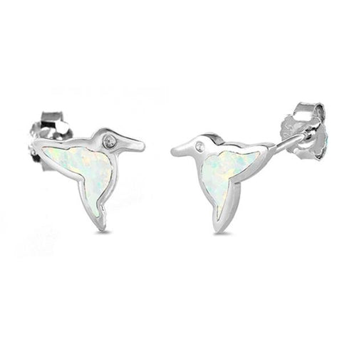 White Opal Humming Bird .925 Sterling Silver Earrings