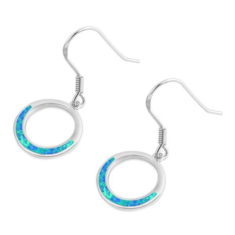 Blue Opal Open Circle Dangling .925 Sterling Silver Earrings