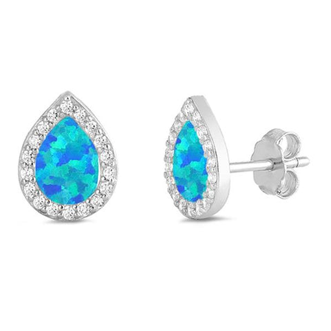 Blue Opal & Cz Tear Drop Stud .925 Sterling Silver Earrings