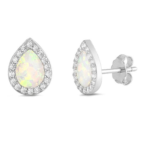 White Opal & Cz Tear Drop Stud .925 Sterling Silver Earrings
