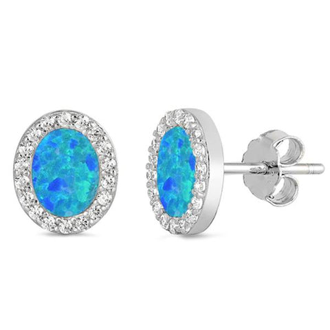 Blue Opal & Cz Oval Stud .925 Sterling Silver Earrings