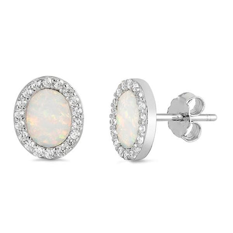 White Opal & Cz Oval Stud .925 Sterling Silver Earrings