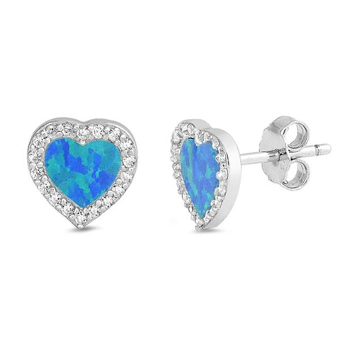 Blue Opal & Cz Heart Stud .925 Sterling Silver Earrings